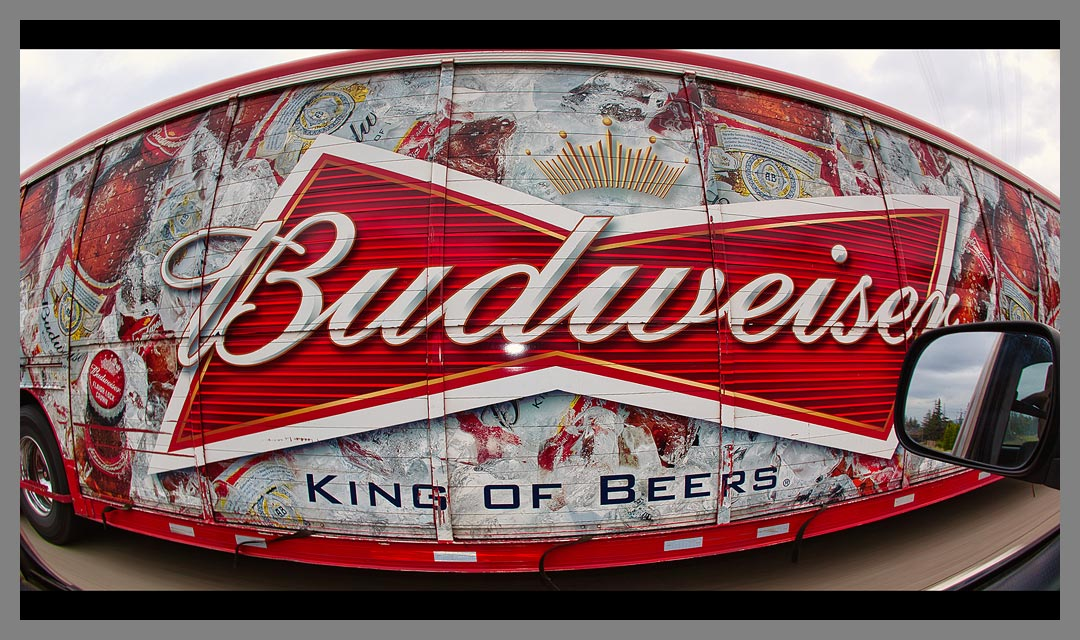 Budweiser, the King of Beers delivery truck on Interstate 680 in Concord, CA