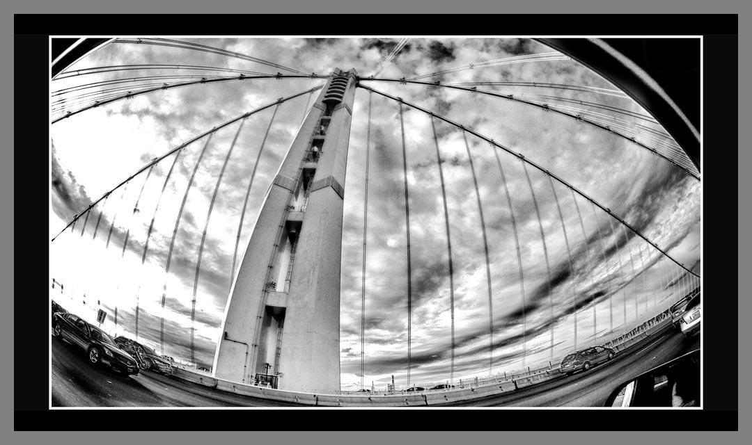 Black and White conversion of the new Oakland San Francisco Bay bridge.