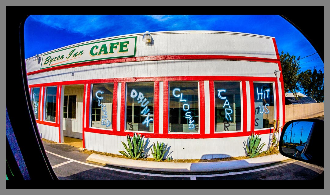 """Byron Inn Cafe closed for repairs after a drunk driver hit the stationary building. """"I swerved left, I swerved right, but I couldn't avoid the tree""""."""