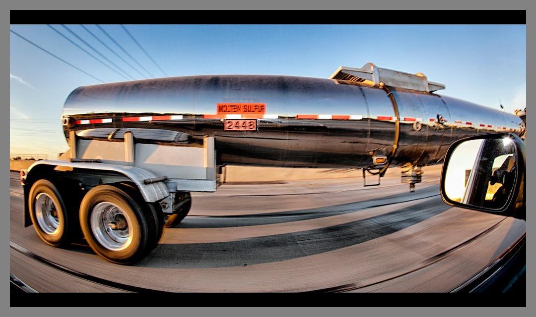 Molten Sulfur tanker with danger code 2448 on Highway 4 in Pittsburg, California.