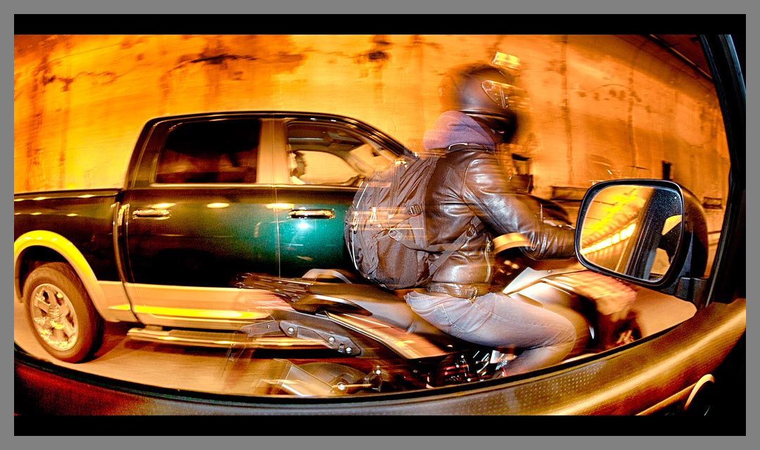 Quite a tight motorcycle pass by in the Caldicott tunnel.